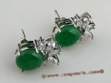 Je017 Direct wholesale Sterling silver oval design green jade stud earring