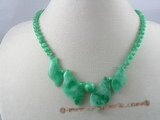 jn006 wholesale gradual change leaf shape  jade beads necklace