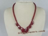 jn017 6mm red leaft shape jasper beads necklace wholesale