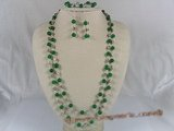 jnset001 Handmade 8mm green jade and silver fittings long necklace set--summer collection