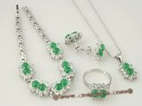 jnset004 Elegance Handcrafted silver plate green jade jewelry set in wholesale