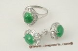 jnset010 Handcrafted 925silver oval green jade earring and ring jewelry set