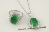 jnset011 wholesale 10*15mm oval green jade pendant necklace& ring set