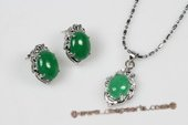 Jnset014 Silver Toned Green Jade Pendant and Earrings Jewelry Set