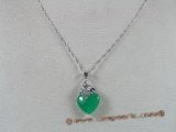 Jp002 silver plated Green jade pendants in heart shape--summer collection