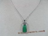 Jp003 silver plated Green jade pendants in oblong--summer collection