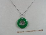 Jp005 Sterling silver Green jade Donut shape pendants--summer collection