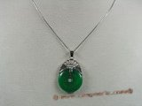 Jp006 Sterling silver coin shape Green jade pendants--summer collection