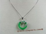Jp007 Sterling silver 25mm Donut shape Green jade pendants