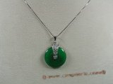 Jp009 Sterling silver 25mm coin shape Green jade pendants