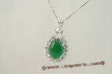 Jp018 Sterling silver green jade pendant neckalce inlaid with zircon beads