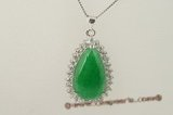 Jp019 Handcrafted oval green jade pendant neckalce in sterling silver