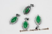 Jp021 Ten Pieces Silver toned Oval Green Jade Pendant Necklace in wholesale
