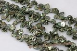keishi033 11-13mm side-dirlled reborn pearls in green color