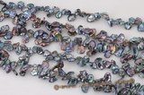 keishi038 7-8mm Black side-dirlled reborn keshi pearls strand