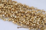 keishi042 7-8mm champagne color side drilled reborn keshi pearl
