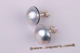 mbpe001 sterling 14-15mm Grey mabe pearl studs earrings wholesale
