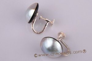 mbpe002 Wholesale 925silver mabe pearl clip screwback earring jewelry