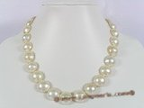 mbpn002 13-14mm nature white mabe pearl necklace with sterling silver clasp