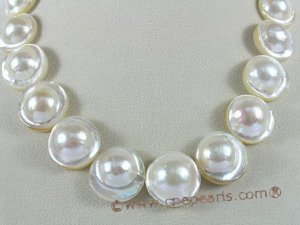 mbpn003  nature white mabe pearl(20-21mm) necklace with sterling silver clasp on sale
