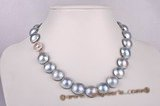 mbpn006 13-14mm nature Grey mabe pearl necklace jewelry in wholesale