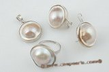mbpnset004 Fashion sterling silver 21-22mm white mabe pearl pendant jewelry set