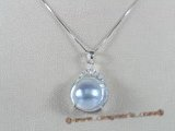 mbpp001 sterling 13-14mm Grey mabe pearl pendant in wholesale