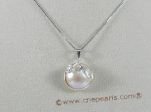 mbpp002 wholesale sterling 13-14mm white round mabe pearl pendant