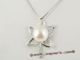 mbpp005 Leafe pattern sterling 13-14mm mabe pearl pendant necklace
