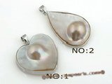 mbpp010 wholesale white 925silver mabe pearl pendants in 2 styles