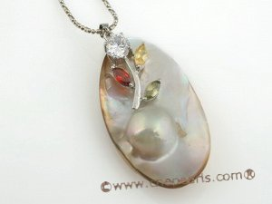 mbpp013 Hand wrapped plated silver oval shape mabe pearl pendant in wholesale