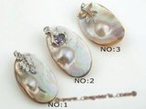 mbpp014 Wholesale Smart plated silver oval shape designe mabe pearl pendant