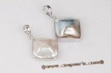 mbpp028 Sterling silver 26mm Square mabe pearl enhancer pendant