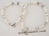 mdj002 special Pearl and faceted austria Crystal Mother Daughter Bracelet Set in white