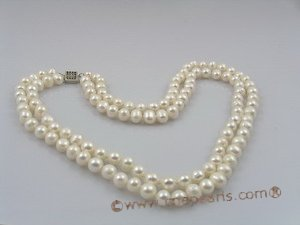 MPN011 two strands 7-8mm potato shape pearl necklace