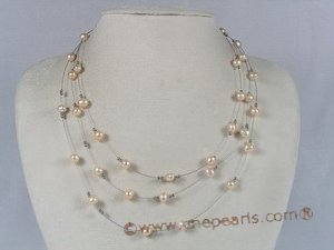 mpn016 pink potato shape fresh water pearl necklace, movable tin cup necklace