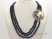 mpn022 three strands 6-7mm black potato shape cultured pearl necklace with cameo clasp