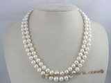 mpn023 double strands 8-9mm potato shape freshwater pearl necklace