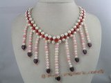 mpn024 Host selling 6-7mm potato shape necklace with coral beads