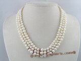 mpn039 White potato pearl three strands necklace in wholesale