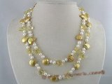 mpn040 double strands champagne side-drilled coin pearl necklace