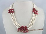 mpn062 Three strands white potato pearl necklace with red jade beads