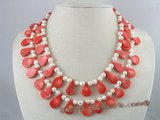 mpn068 Two strands white potato pearl  necklace with tear-drop coral beads