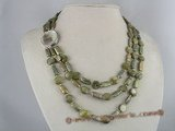 mpn071 three strands olive green oblong biwa pearl necklace