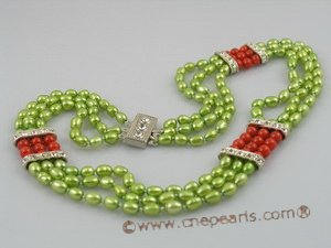 mpn072 5-6mm green rice shape pearl multi strands necklace