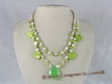 mpn076 double-strands keishi pearl necklace with crystal pendant