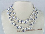 mpn078 side-dirlled pearl with crystal necklace in two rows