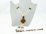 mpn081 double-strands side drill pearl necklace with gemstone beads