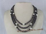 mpn084 triple-strands black freshwater pearl necklace with black agate