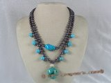 mpn087 double-strands black potato pearl layer necklace with turquoise beads